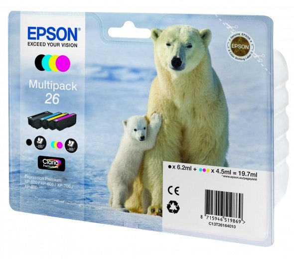 Набор картриджей EPSON (26) для Expression Premium XP-600 XP-700 XP-710 XP-800 XP-820 (B/C/M/Y)
