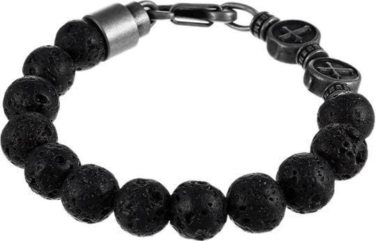 Черный женский браслет из бусин Element47 by JV TOE-220-601 с вулканическим туфом, размер 20 мм