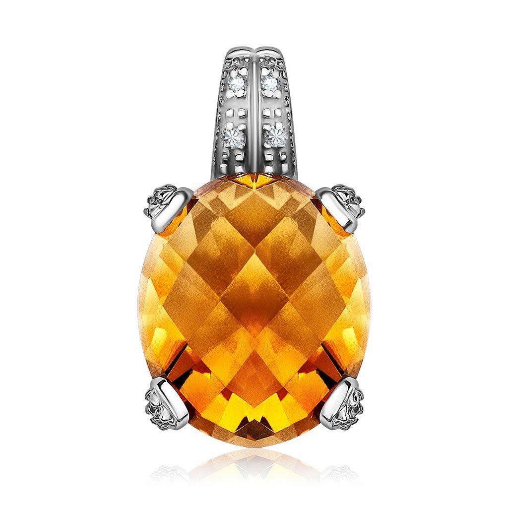 Золотая подвеска с цитрином и бриллиантами