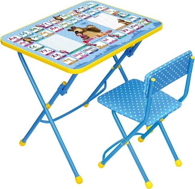 Комплект детской мебели Азбука2. Маша и Медведь Стол+стул мягкий синий КУ1/2 Ника