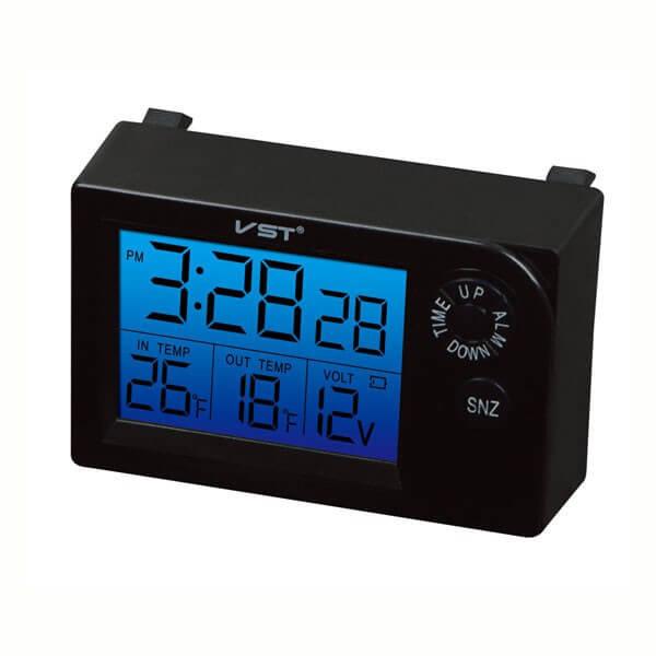 Автомобильные часы с вольтметром и термометром