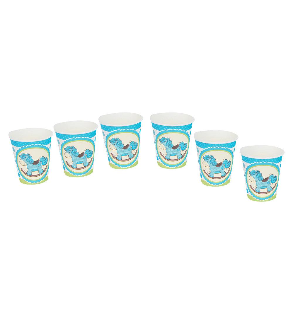 Набор одноразовой посуды Патибум Лошадка Малыш голубой 6шт 250 мл
