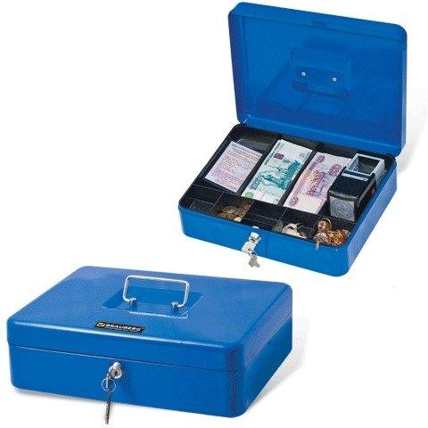 Ящик для денег, ценностей, документов, печатей BRAUBERG 90х240х300 мм, с ключевым замком, синий