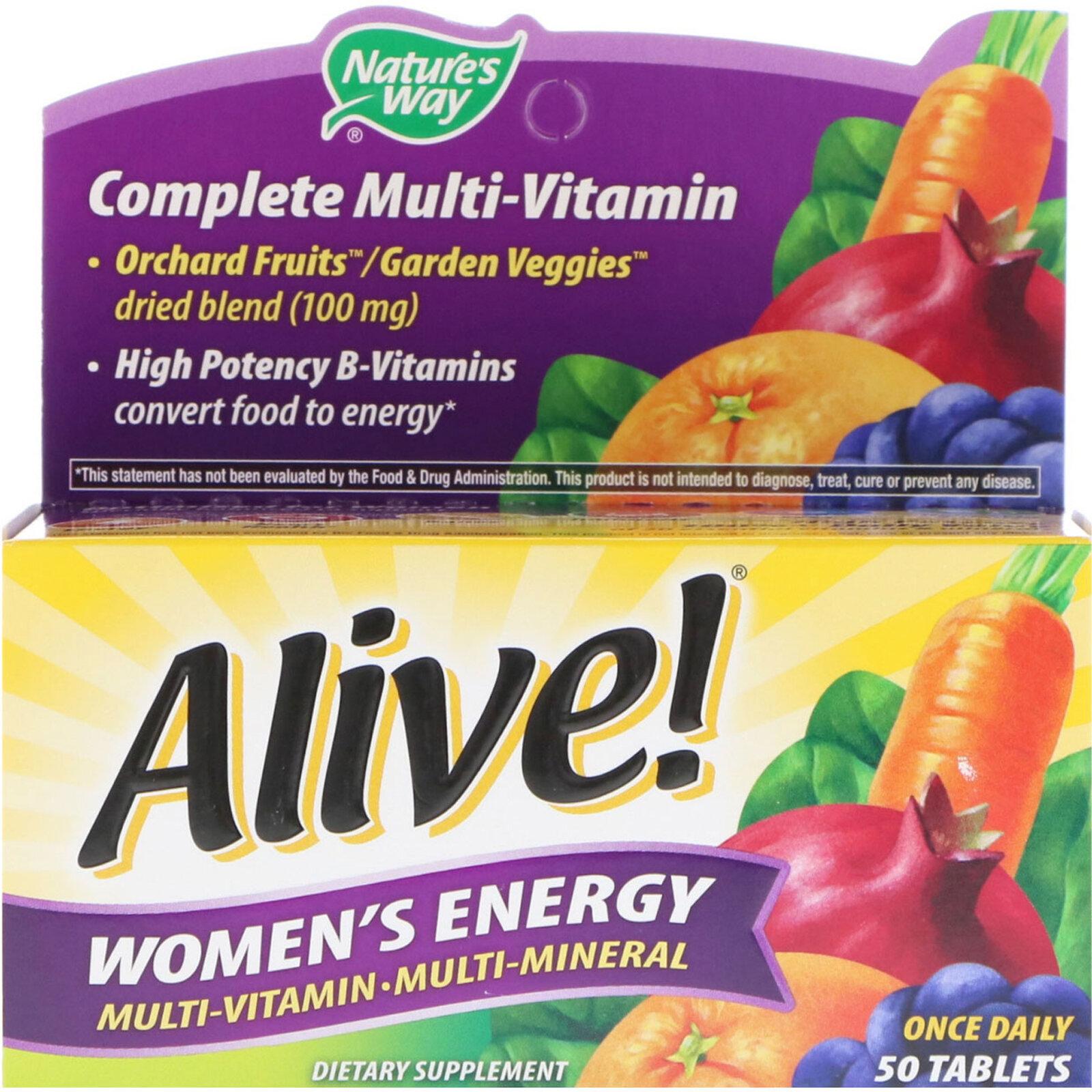 Nature's Way Alive! Женская Энергия, Мультивитамины - Мультиминералы, 50 таблеток