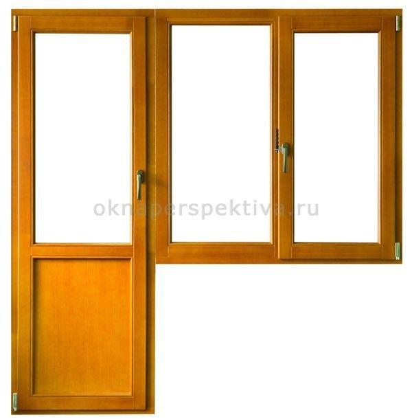 Деревянная дверь балконная 2100*2000 под ключ