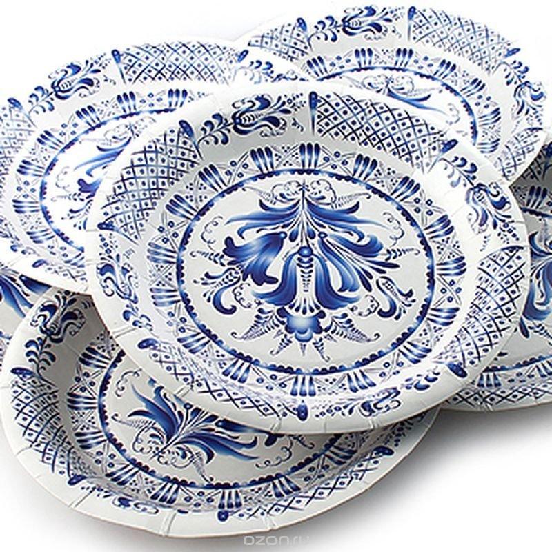 "Набор одноразовых тарелок Эврика ""Гжель"", цвет: белый, синий, диаметр 19 см, 6 шт"