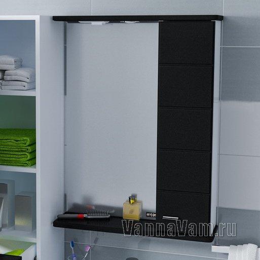 Зеркало-шкаф СанТа Омега 60 R черное 107012