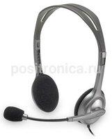Наушники с микрофоном Logitech Stereo H110 серебристый (981-000271) - фото 1
