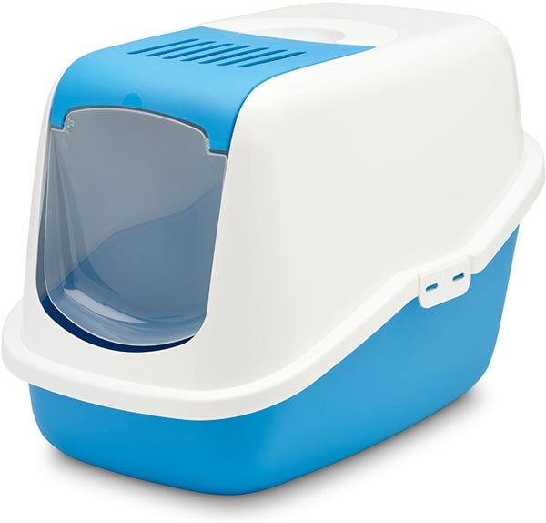 "Туалет для кошек Savic ""Nestor"" закрытый (цвет: белый/синий), 56х39х38,5 см"
