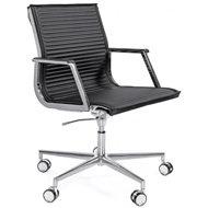Кресло Luxy NULITE B черное кожаное (хром)