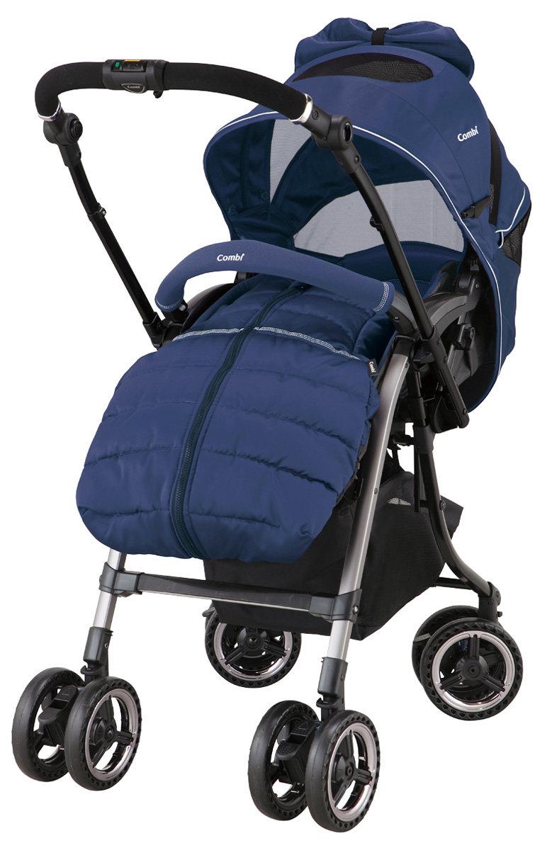 Прогулочная коляска Combi Miracle Turn Elegant II» (BL)синяя с муфтой для ног (166218)(+дождевик и москитная сетка)