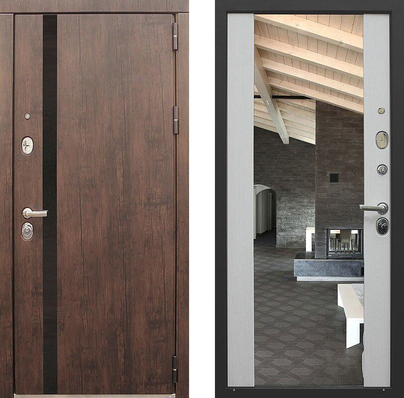 Дверь Премьер зеркало тиковое дерево/белый венге 860х2050 мм Входная Дверь с зеркалом открывание правое