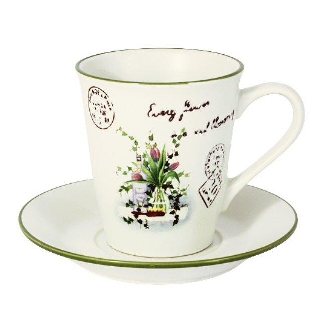 чашка с блюдцем lf ceramic букет 200мл керамика