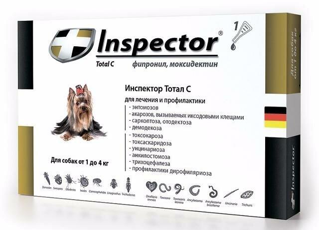 Inspector Капли для собак весом до 4 кг от блох, клещей и гельминтов, 1 пипетка