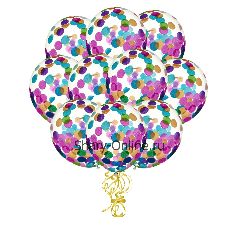 Воздушные шары с гелием с конфетти ассорти «Круги»