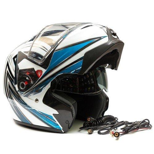 Шлем снегоходный GSB G-339 SNOW визор с подогревом, L, Белый / Голубой