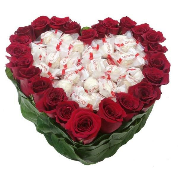 Роз канал, букет в виде сердца в спб