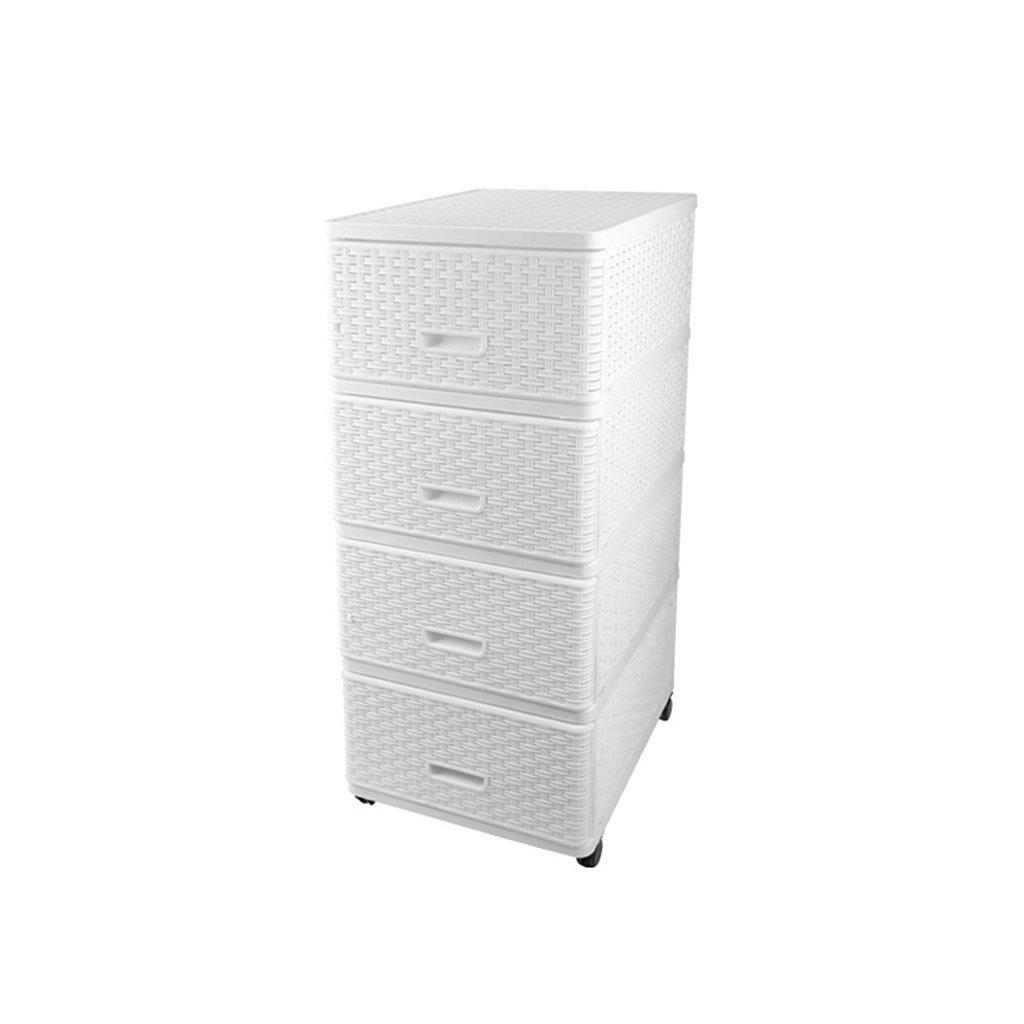 Комод 4 секции Dunya Plastik 04054 плетенный белый, 40х50х98 см