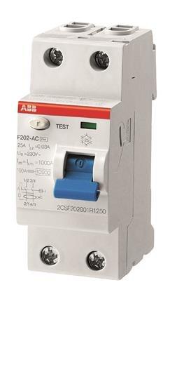 УЗО (устройства защитного отключения) F202 AC-25/0,03 Блок утечки тока (УЗО) 2-полюс. 25A 30mA, тип АC ABB