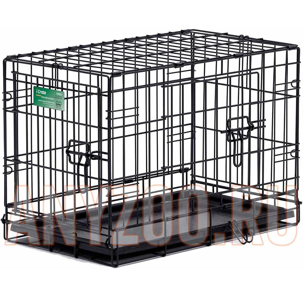 Midwest iCrate клетка для собак 2 двери, черная 61*46*48см ( Клетки, вольеры для собак )