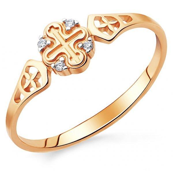 Кольцо православное золото 585 проба с фианитами арт АЛМ-07