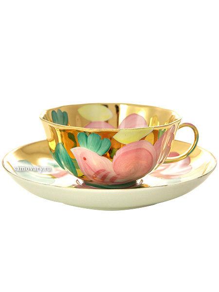 "Фарфоровая чашка с блюдцем форма ""Тюльпан"" рисунок ""Розовая птица"" Дулево фарфор"