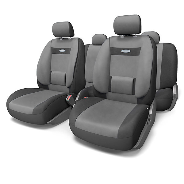 """Автомобильные чехлы на сиденье """"Comfort"""" с усиленной боковой поддержкой Autoprofi. Серые с черным COM-1105-BK-DGY"""