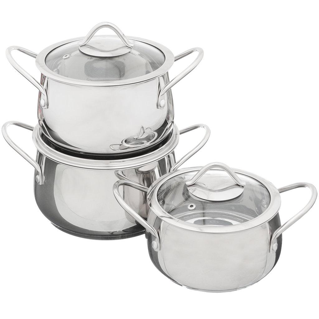 Набор посуды из нержавеющей стали Премиум Daniks SD-A8-16, (кастрюли 2+3+4 л), 3 предмета