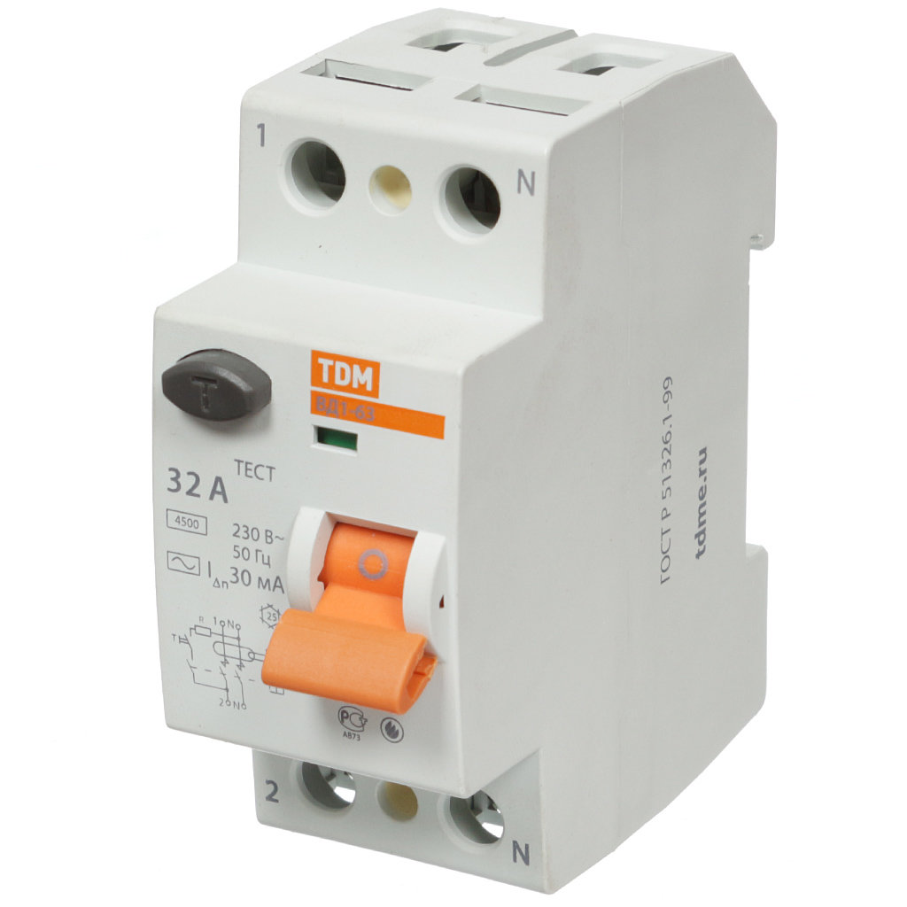 Устройство защитного отключения TDM Electric SQ0203-0010, 32 А, 30 мА