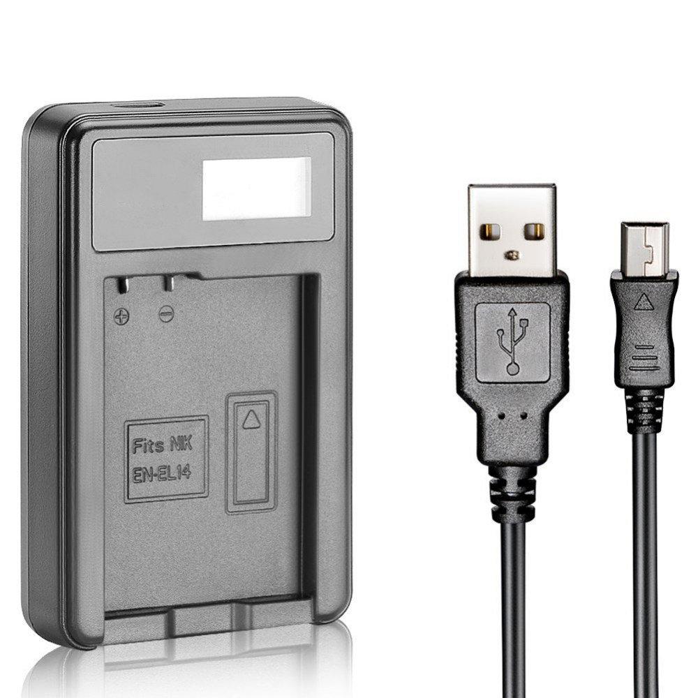 Зарядное Устройство En-EL14 USB с адаптером для Nikon Df D5500 D5300 D5200 D5100 D3500 D3400 D3300 D3200 D3100