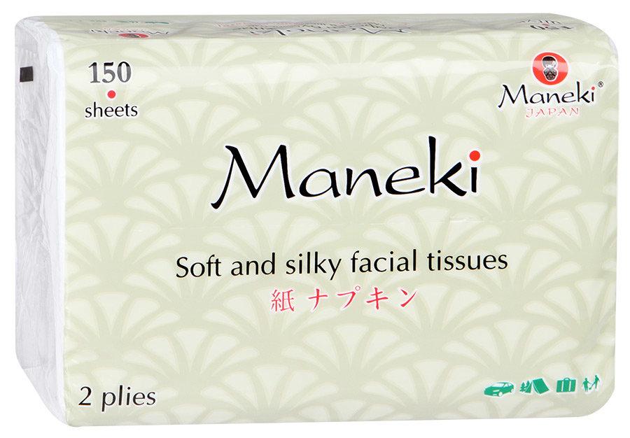 """Салфетки бумажные """"Maneki"""" Kabi 2 слоя, белые, 150 штуки"""