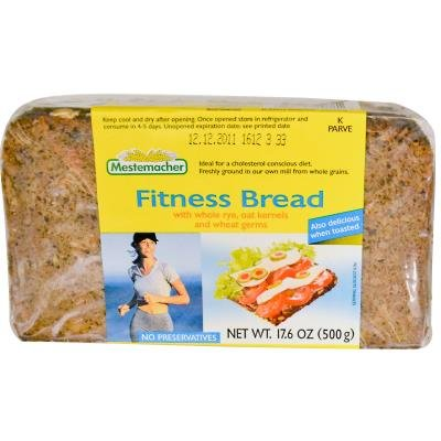 Фитнес-хлеб с цельными зернами ржи, овса и ростками пшеницы, 17,6 унции (500 г)
