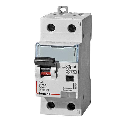 Дифференциальный автоматический выключатель 1-полюсный+N C25А 30MA-AC Legrand DX3