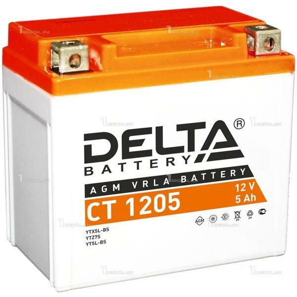 Аккумулятор DELTA CT-1205 для мототехники (12В, 4Ач / 12V, 5Ah / Стартерный ток 80А)YTX5L-BS, YT5L-BS, YTZ7S