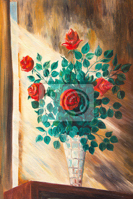 """Искусство, картина """"Картины. Букет роз в вазе"""", 20x30 см, на бумаге"""