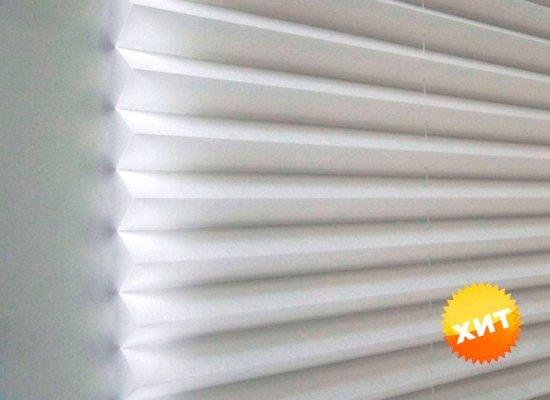 Тканевые жалюзи EasyLift плиссе легкий светофильтр белые 91х162