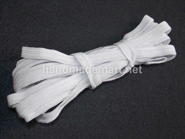 "Резинка бытовая ""продежка"", Белая, Ширина: 10 мм, Цена за: 1 рулон (7 метров)"