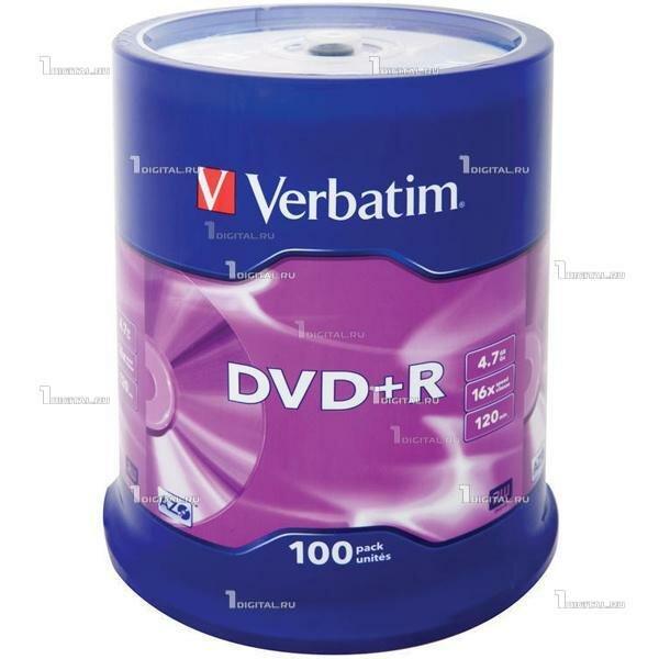 Диски Verbatim DVD+R Cake Box (100 шт.) 4.7Gb 16x (43551)