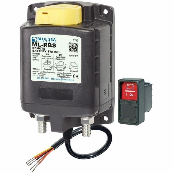 Автоматический переключатель соленоидный АКБ Blue Sea ML-RBS 7700 12 В 500 А с дистанционным ручным переключателем