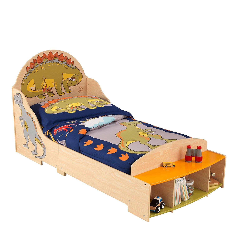 Детская кровать – Динозавр, с полками