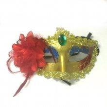Карнавальная маска Золотая с красным цветком