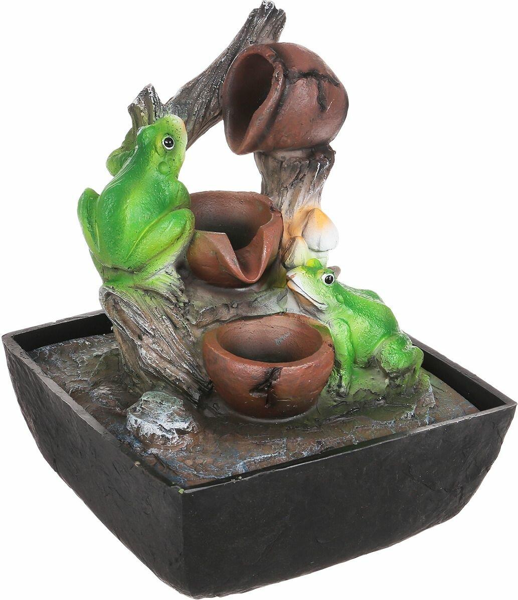 Домашний фонтан Green Apple Лягушки настольный, с подсветкой
