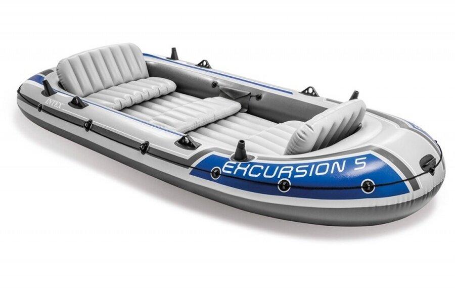 Надувная пятиместная лодка 366х168х43см Excursion 5 Set Intex 68325 с веслами и насосом