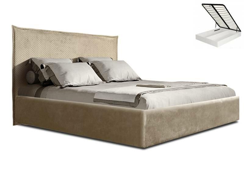 Кровать 2-х спальная (1,8 м) с подъемным механизмом (беж) Диора