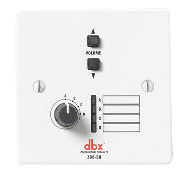 dbx ZC-8 настенный контроллер. 4-позиционный селектор источника/зоны + 2-кнопочный регулятор громкости Вверх/Вниз. Подключение Cat5, 2xRJ45