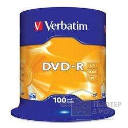 Verbatim Диски DVD-R 4.7Gb 16-х, 100 шт, Cake Box 43549