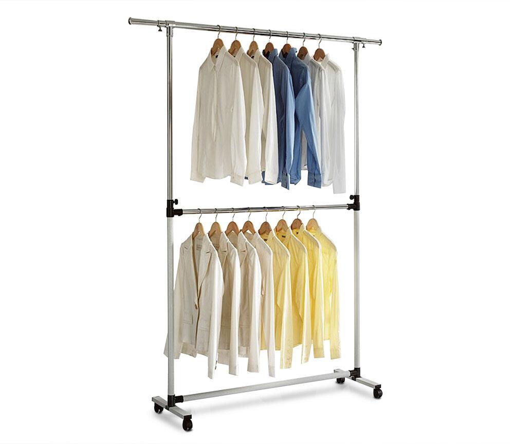 Двухуровневая напольная вешалка для одежды 127*185*42 LS-0346