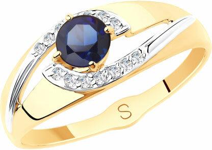 Золотое кольцо SOKOLOV 715565_s с искусственным корундом, фианитами, размер 17,5 мм