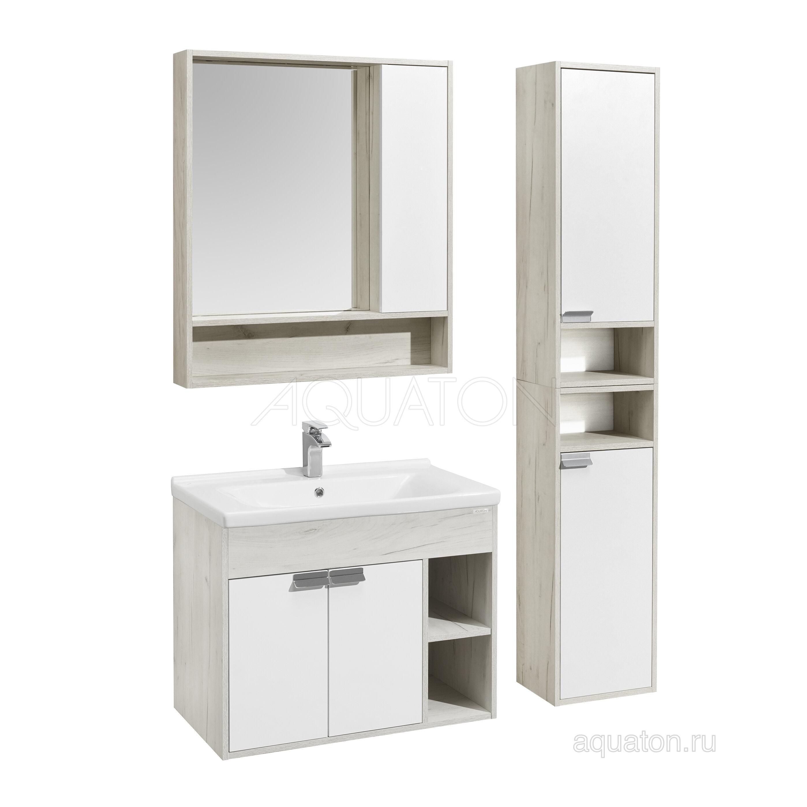 Мебель для ванной Акватон Флай 80 белый/дуб крафт (Тумба с раковиной + зеркало)