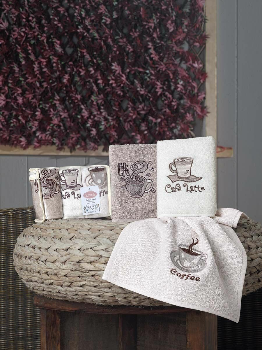 Набор кухонных полотенец Karna Полотенце махровое Karna Cafe Prima, 30 х 50 см, 3 шт Махровая ткань, 50x30 см, мультиколор